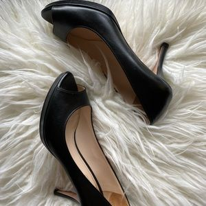 Prada leather peep toe heels